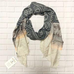 Rising Tide eco scarf in gray, tan & cream pattern